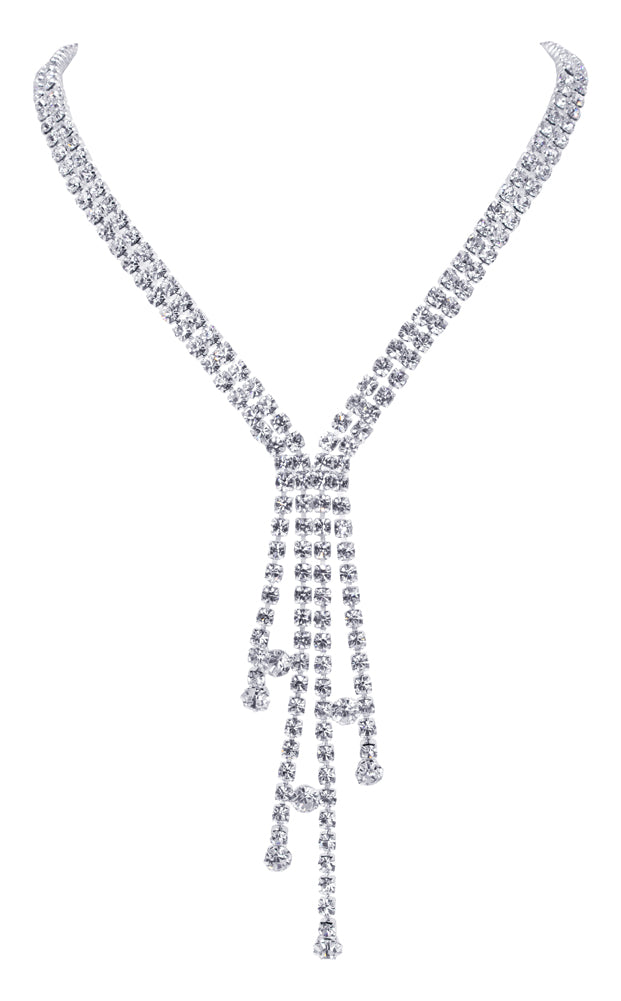 #12224 - Chic Drip Rhinestone Necklace