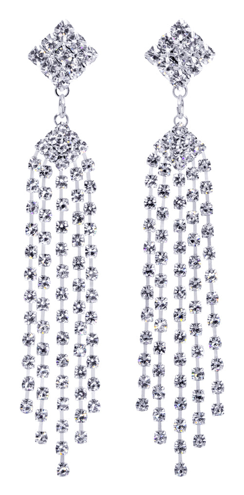 #12350 Diamond Top Multi Line Duster Earrings
