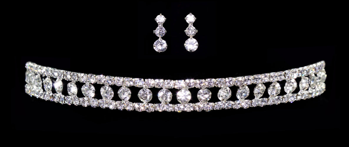 #12381 - Stretch Diamond Shape Necklace and Earring Set