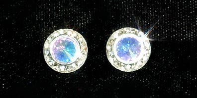 #12535 AB 11mm Rondel with Rivoli Button Earrings
