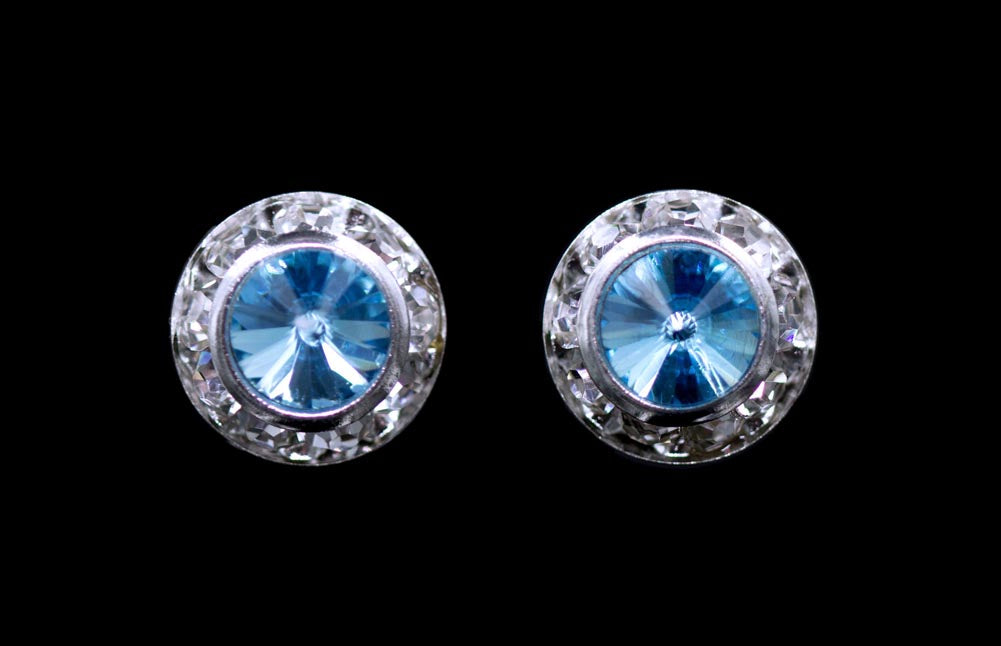 #12535 Aquamarine 11mm Rondel with Rivoli Button Earrings