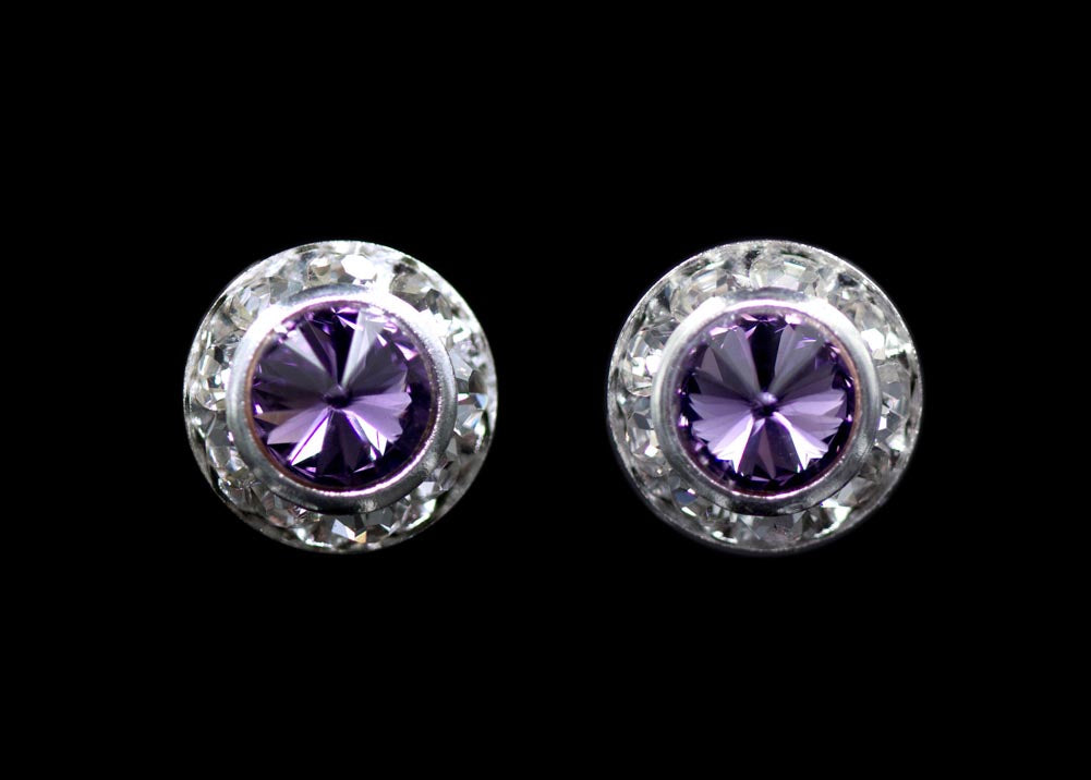 #12535 Lavender 11mm Rondel with Rivoli Button Earrings
