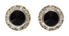 #12535 Jet 11mm Rondel with Rivoli Button Earrings