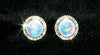 #12536 AB 13mm Rondel with Rivoli Button Earrings