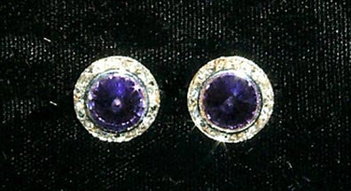 #12536 Amethyst 13mm Rondel with Rivoli Button Earrings
