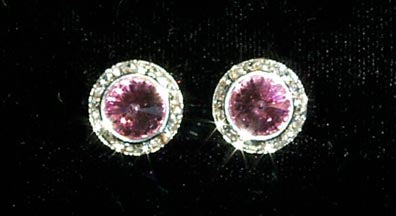 #12536 Rose 13mm Rondel with Rivoli Button Earrings