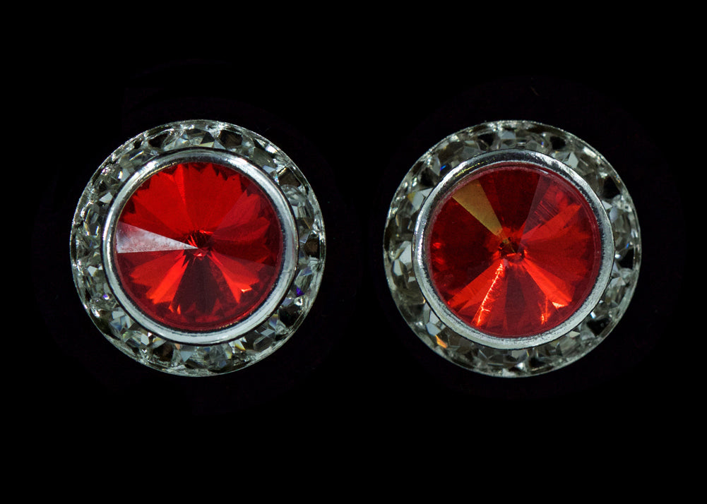 #12536 Light Siam 13mm Rondel with Rivoli Button Earrings