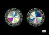 #12536 13mm Rondel with Rivoli Button Earrings - ab-Clip