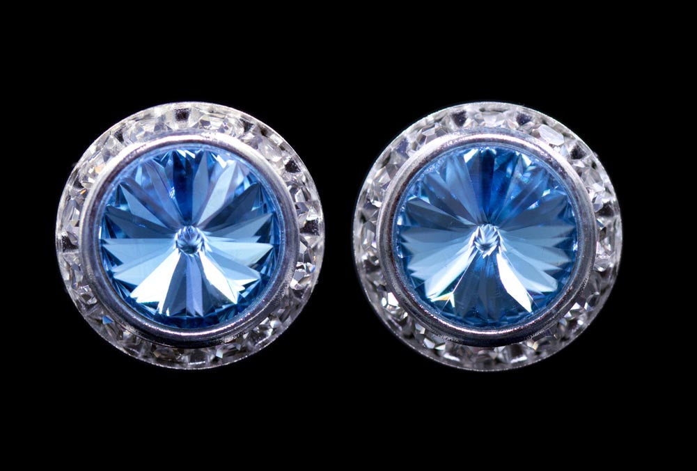 #12537 Aquamarine 16mm Rondel with Rivoli Button Earrings