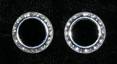 #12537 Jet 16mm Rondel with Rivoli Button Earrings