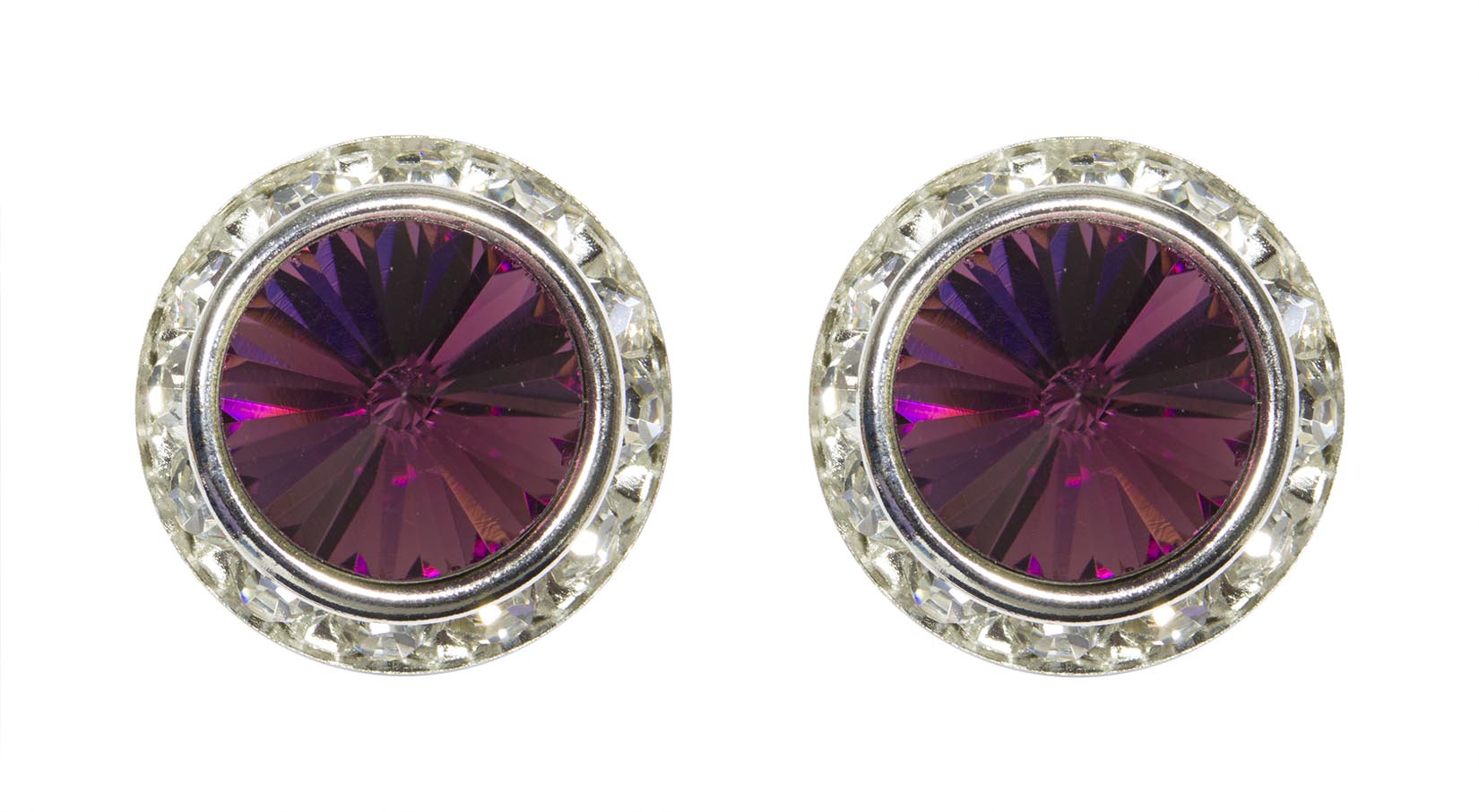 #12537 Amethyst 16mm Rondel with Rivoli Button Earrings