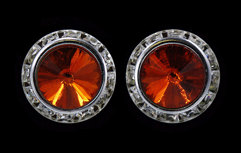 #12537 Hyacinth 16mm Rondel with Rivoli Button Earrings