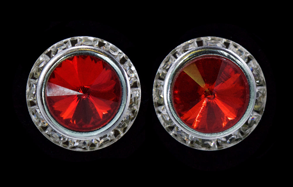 #12537 Light Siam 16mm Rondel with Rivoli Button Earrings