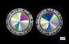 #12537 AB 16mm Rondel with Rivoli Button Earrings - Clip