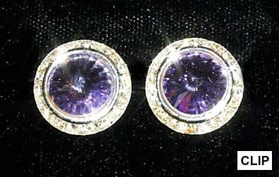#12537 Amethyst 16mm Rondel with Rivoli Button Earrings - Clip