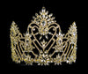 #12539G Navette Crowned Heart Tiara - Gold Plated