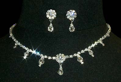 #12887 Multi Station Crystal Rosette Pear Neck and Ear Set