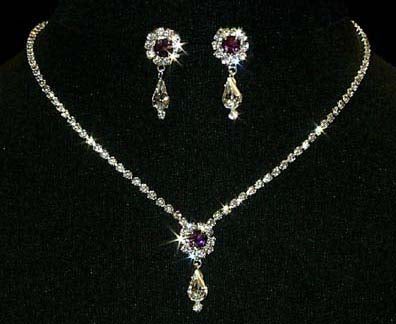 #12924 -Amethyst Rosette Pear Drop Necklace and Earring Set