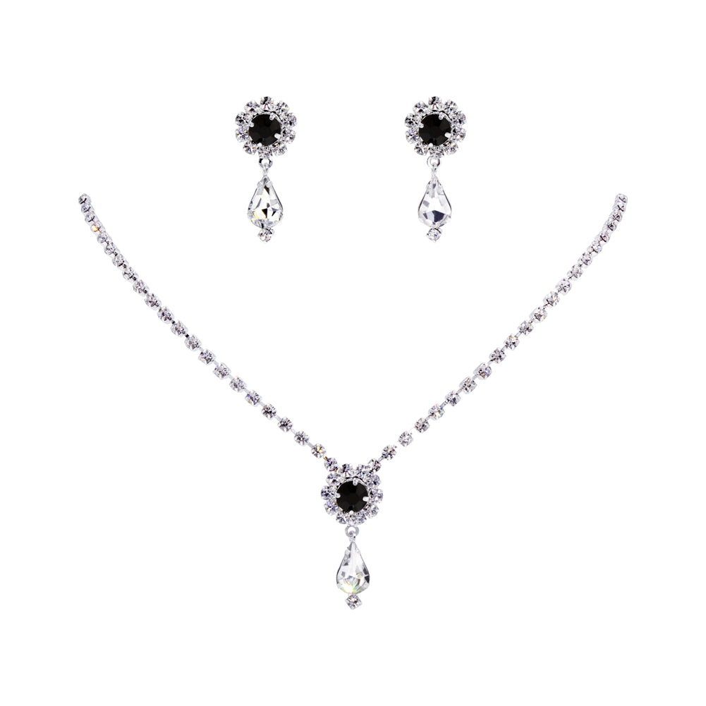 #12924 -Jet Rosette Pear Drop Necklace and Earring Set
