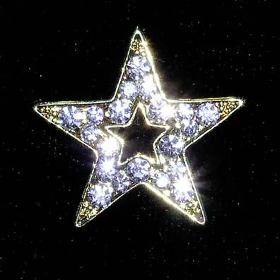 #13474G Gold Rhinestone Casted Open Star Pin