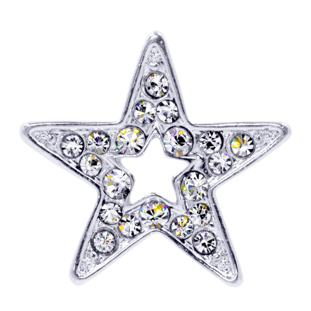 #13474S Rhinestone Casted Open Star Pin - Silver Plated