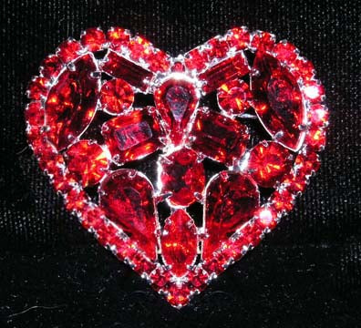 #13886 - Chunky Red Crystal Heart Pin