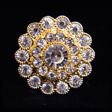 #14061G Large Stacked Flower Button - Gold Plated