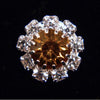 #14062 Medium Rhinestone Rosette Button - Amber Center