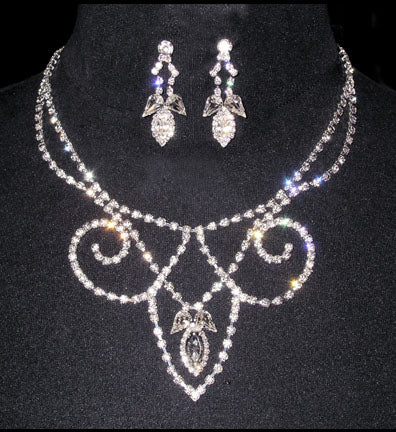 #14086 - Reverse Fleur De Lis Drop Necklace and Earring Set