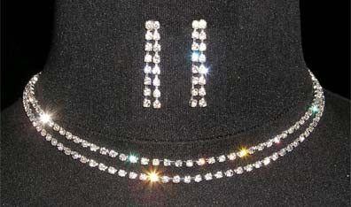 #14285 - Simple 2 Row Rhinestone Neck and Ear Set