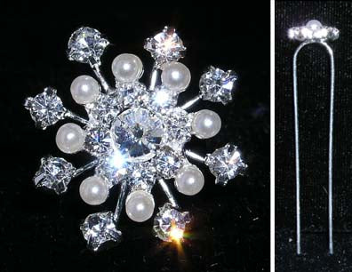 #14357 - Snow Crystal with Pearl Hair Pin