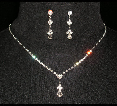 #14434 Simple Drop Crystal Bead Necklace Set