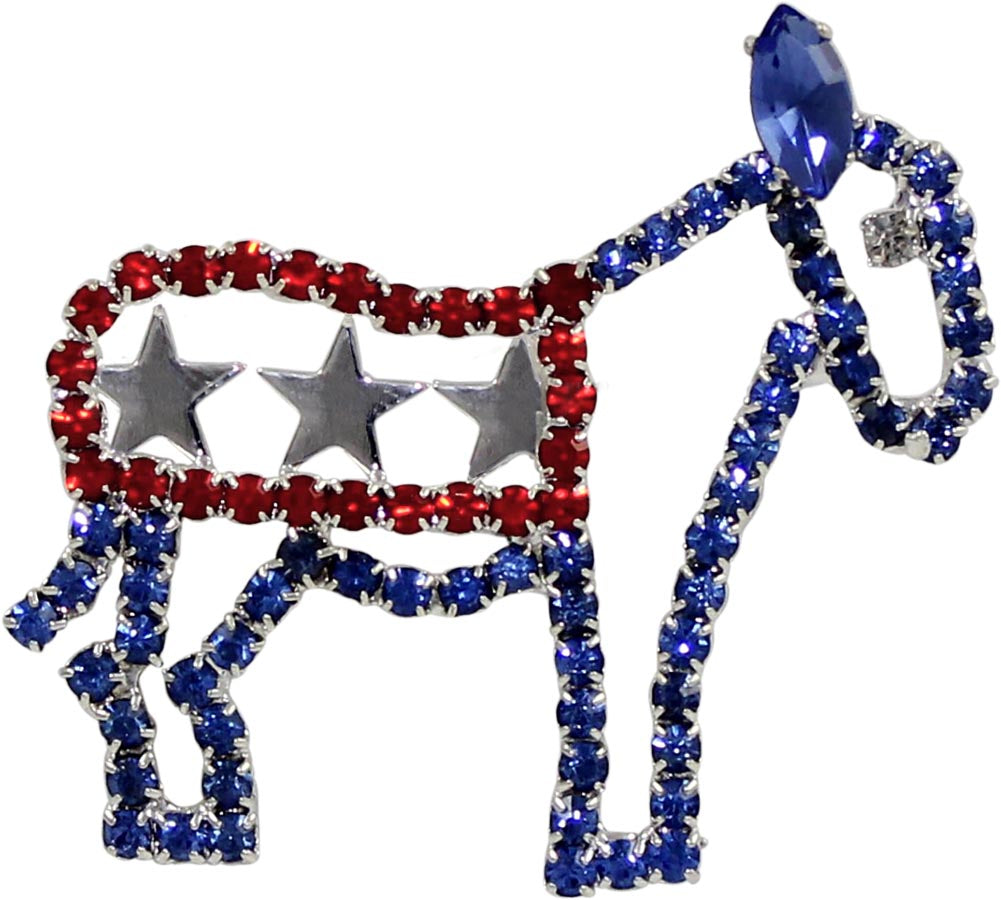 #14440 - Red White and Blue Democrat Donkey Pin
