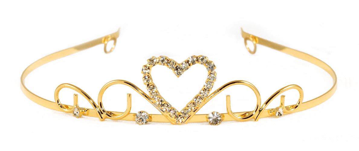 #14687G - Sweet Heart Wire Tiara - Gold Plated