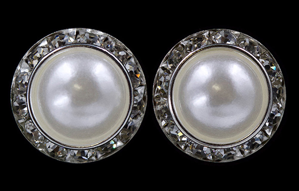 #14995 20mm Rondel with Pearl Button Earrings
