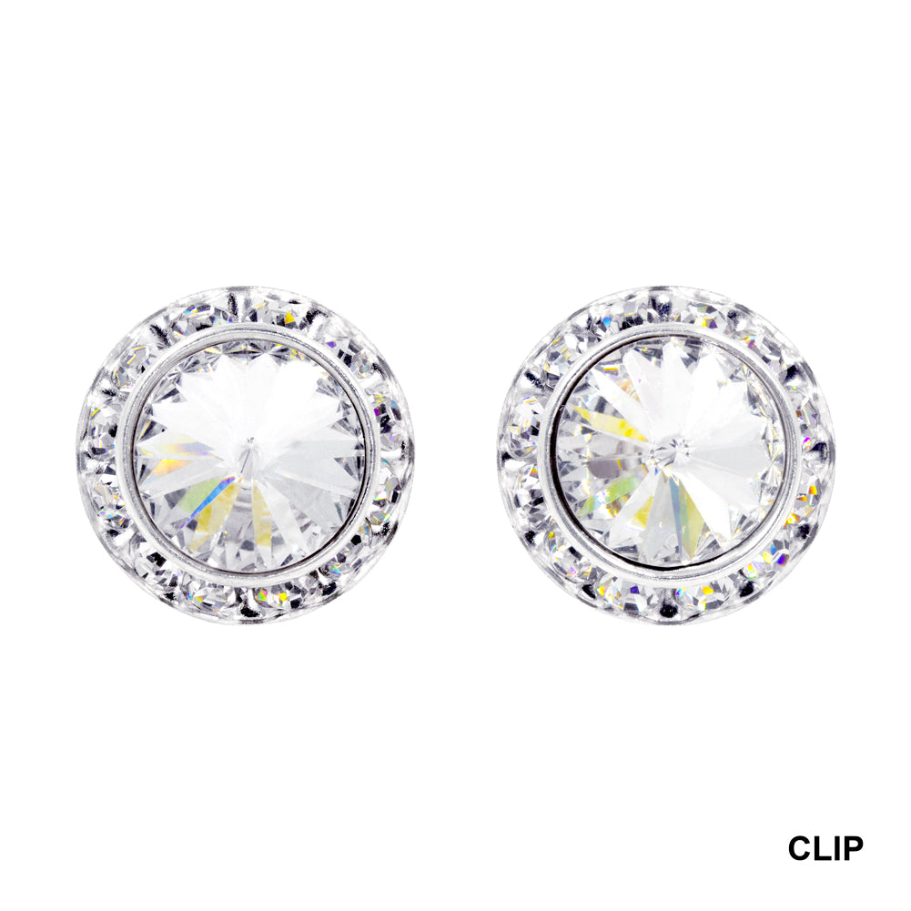 #14998 18mm Rondel with Rivoli Button Clip Earrings
