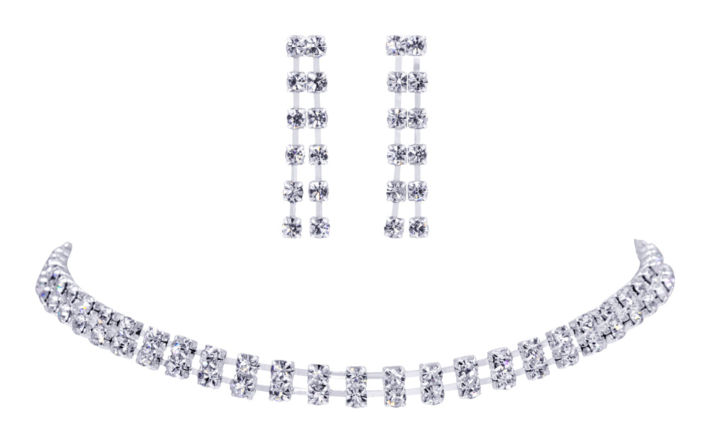 #15091 - 2 Row Necklace and Earring Set