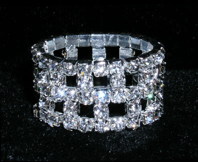 #15397 Checkerboard Stretch Rhinestone Ring