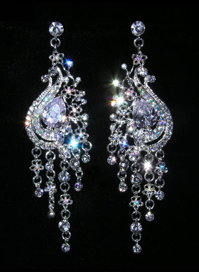 #15404 - Peacock Crystal and AB Chandalier Earrings