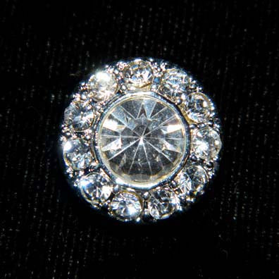 #15627 - Round Pave Button with Center Stone Button - 1/2""