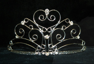 #15745 - Heartfelt Wave Tiara with Rhinestones and Combs