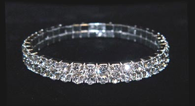 15951XS Two Row Stretch Rhinestone Bracelet -  Crystal  Silver