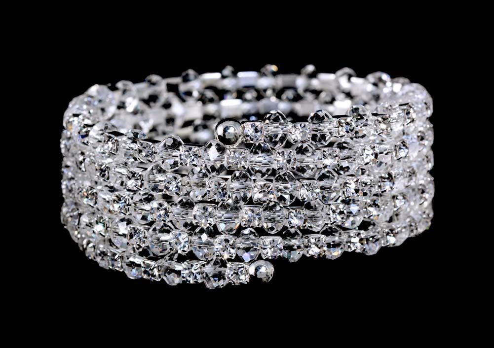 #16099 Crystal Bead and Rhinestone Wrap Coil Bracelet