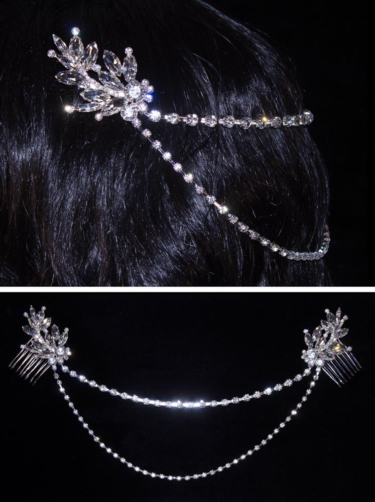 #16302 - Crystal Leaves Dual Hair Comb with Connecting Chains