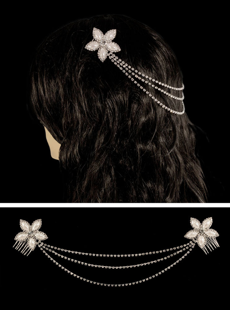#16307 - Double Flower Hair Combs
