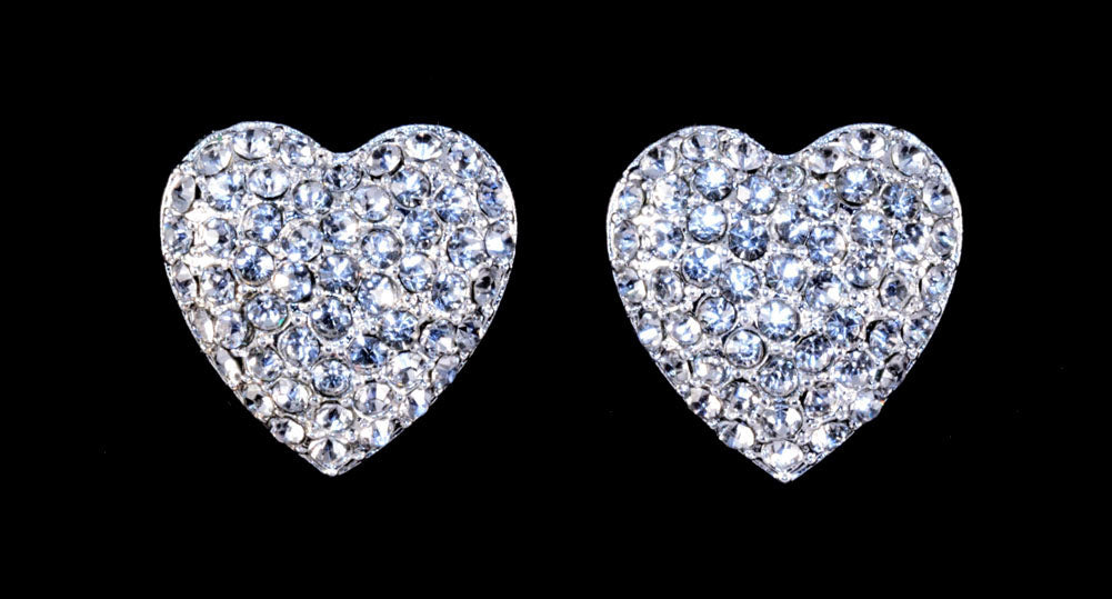 #16379 - Heart Pave Button Post Earrings