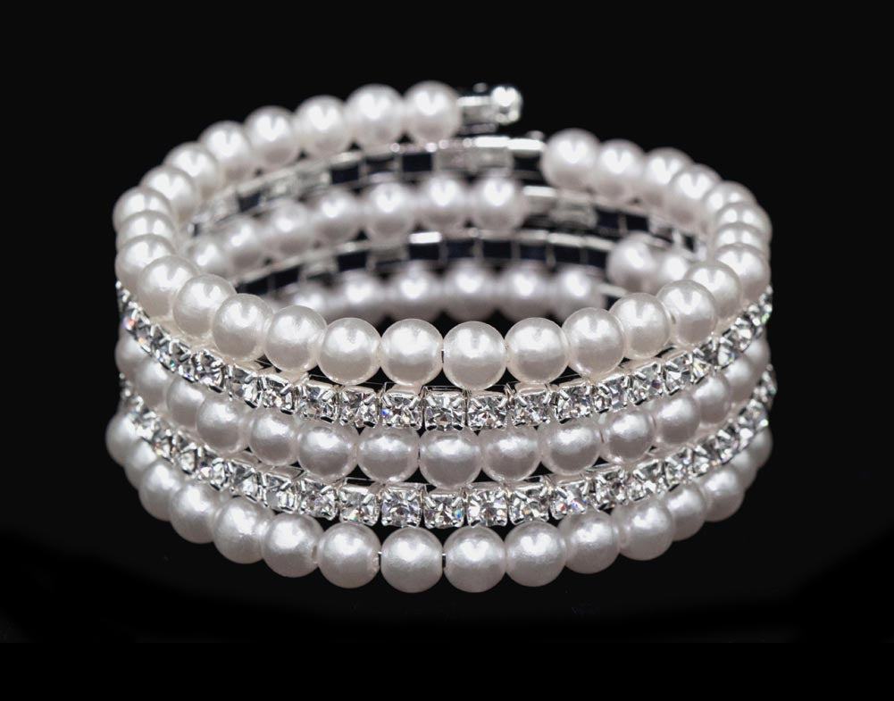 #16465 Pearl and Rhinestone Memory Coil Wrap Coil Bracelet