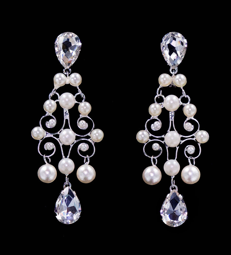 #16569 - Pearl and Rhinestone Decorative Earrings