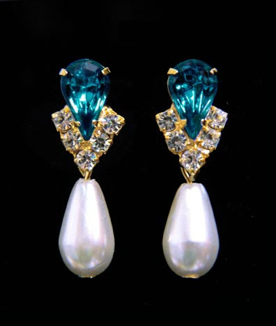 #5538BZG - Rhinestone Pear V Pearl Drop Earrings - Blue Zircon Gold