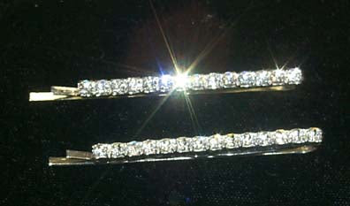 #6492 Pair of Rhinestone Single Row Bobbie Pins